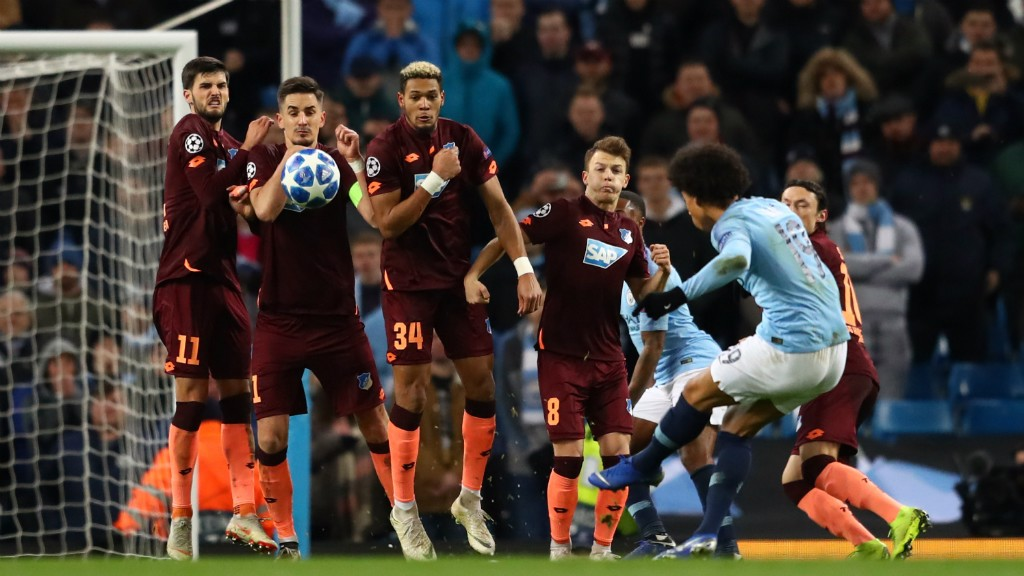 PERFECTION: Leroy Sane curls in a wonderful free-kick to level on the brink of half-time
