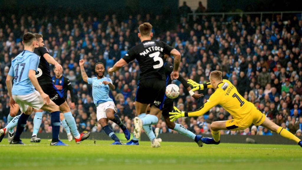 ON THE MARK: Raheem drills the ball home through the Rotherham defence for our opener