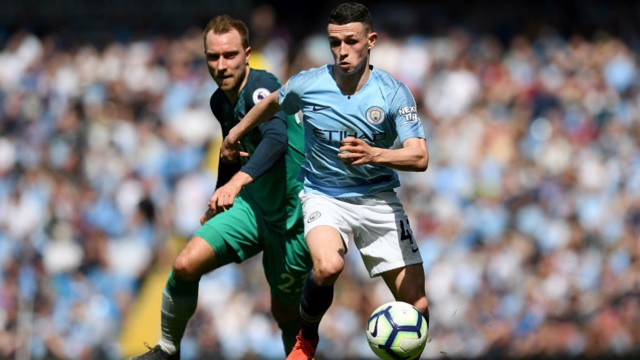 CENTRE OF ATTENTION: Phil Foden on the attack against Tottenham