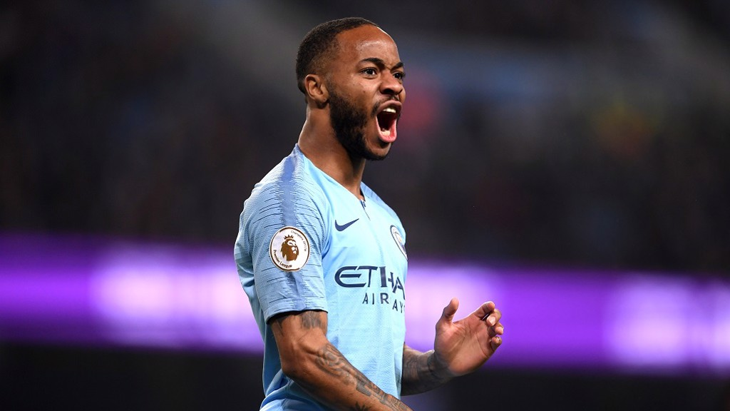 GET IN! Raheem Sterling celebrates the opening goal