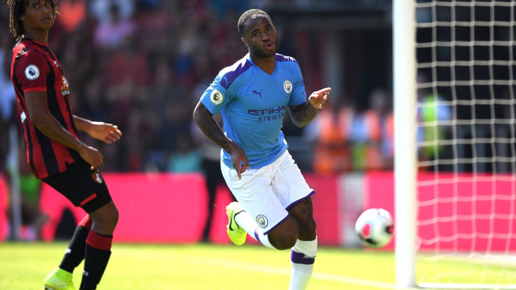 STERLING RECORD: Raheem scored his 11th goal in 10 games against the Cherries to double our lead.