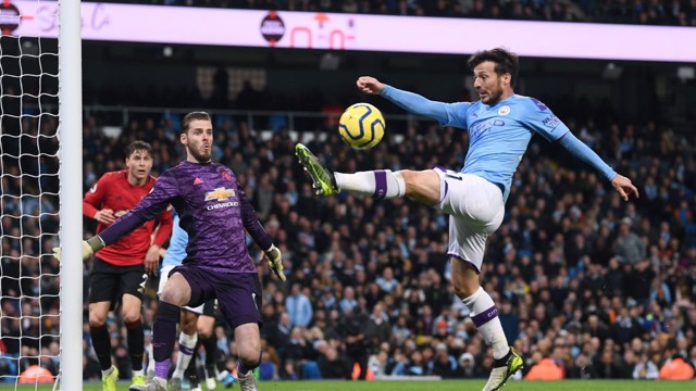 MISFIRING: David Silva can't quite connect as City searched for a way back into the game.