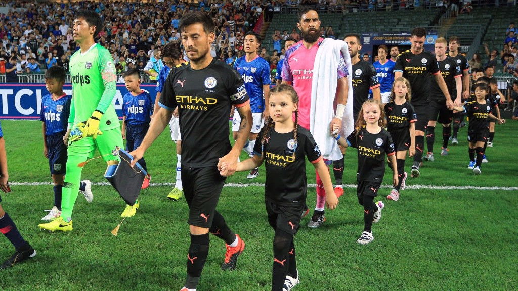 SKIPPER: David Silva led the team out as captain for the game