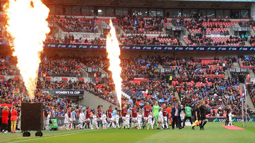 City players walk out to a record FA Women's Cup crowd at Wembley Stadium