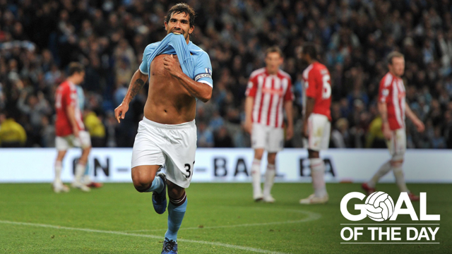 TOP CORNER: Carlos Teves stuns Stoke in 2011 with this beautiful free kick