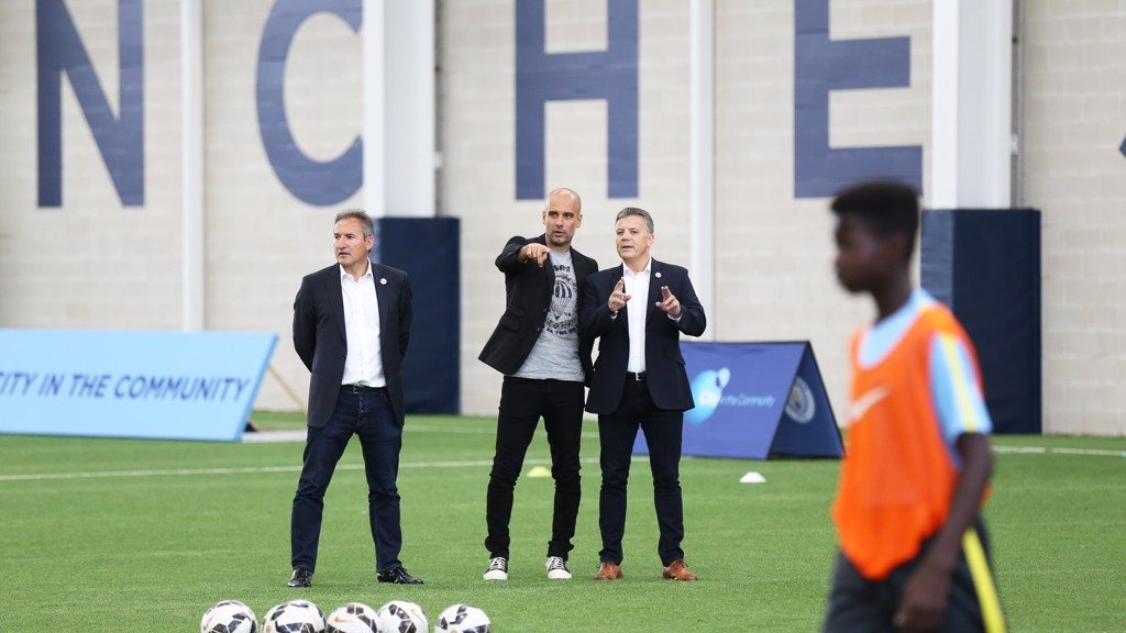 Academy Director Mark Allen introduces Pep to some of the Academys rising talent