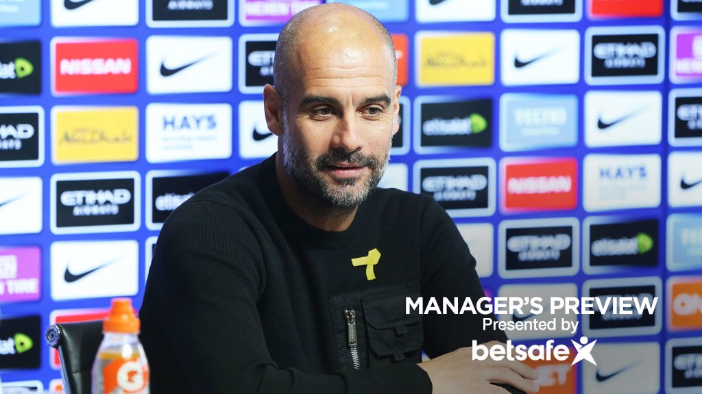 DERBY: Pep Guardiola responds to questions at the press conference before City's showdown with United.