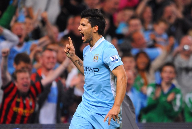 DREAM DEBUT: Aguero got off to a flyer in a Blue shirt