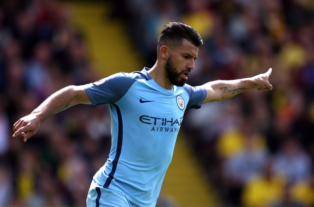 SURGING SERGIO: Sergio Aguero celebrates his goal at Vicarage Road against Watford