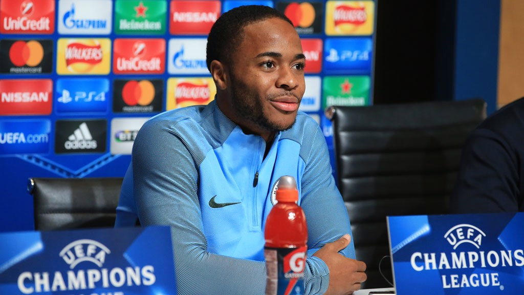 MEDIA DUTY: Raheem Sterling addresses the press ahead of the Champions League visit of Napoli