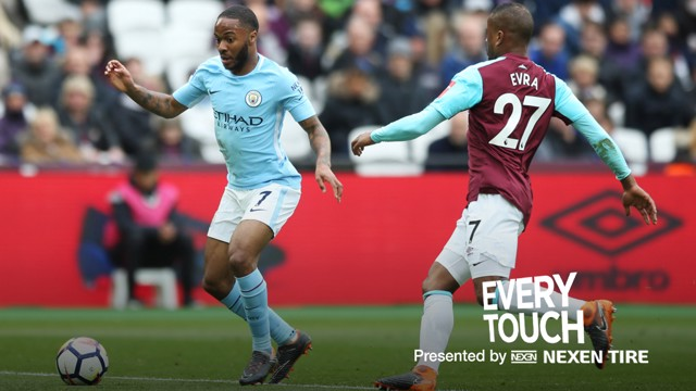 Cada toque: Raheem Sterling en el London Stadium.