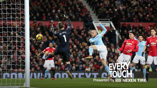 Cada toque: David Silva frente al Manchester United.