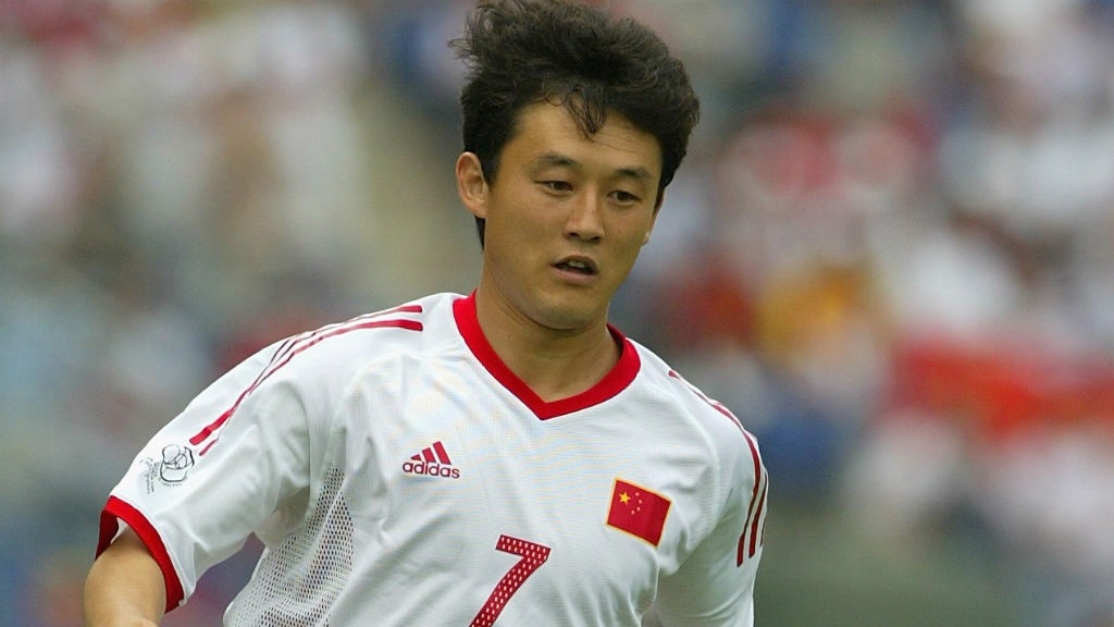 TRAIL BLAZER: Sun Jihai in action for China at the 2002 World Cup finals